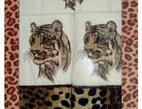 """Комплект хлопковых полотенц """"Тигр"""" - банное, лицевое, кухонное, Турция, 639/539 (цена за 1 наб. + 100 гр.)"""