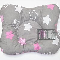 Подушка двухсторонняя ортопедическая для новорожденных верх 100% хлопок, 30х25 см 4060 Розовый