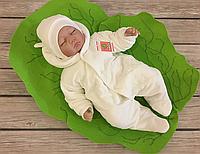 """Велюровый человечек для новорожденных с шапочкой """"Мишутка"""" (молочный) утепленный на махре, фото 1"""