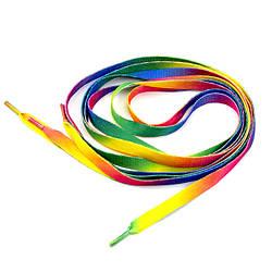 Шнурки для обуви 120см плосские, цвет радуга
