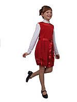 М -787 Сарафан детский для девочки вельветовый красный. Размер 134, фото 1