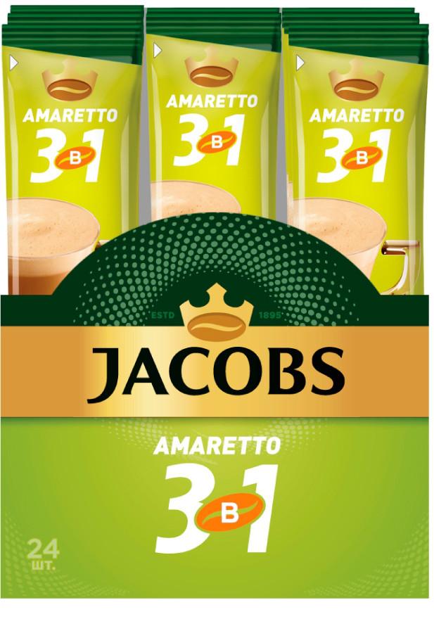 Кофе Jacobs  Амаретто 3 в1 ( 1 упаковка = 24 стика )