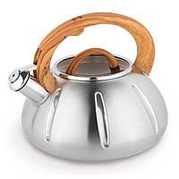 Чайник Kamille 3л из нержавеющей стали со свистком и стеклянной крышкой 0671