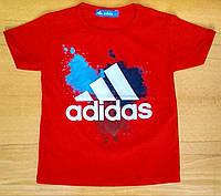 Детская красная футболка Adidas на мальчика (реплика) 4 года. Последний размер, скидка!