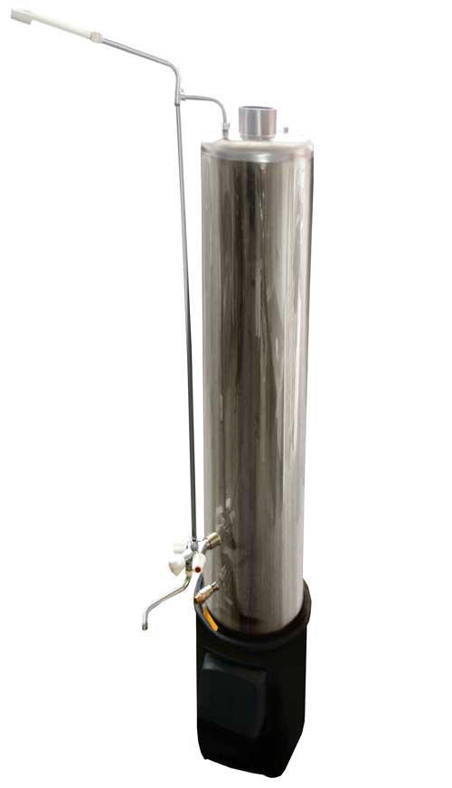 Дровяная колонка водогрейная 80 литров из нержавейки со смесителем и стальной топкой