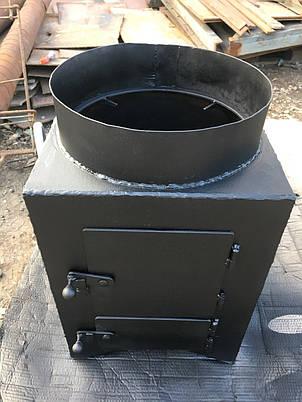 Дровяная колонка водогрейная 80 литров из нержавейки со смесителем и стальной топкой, фото 2