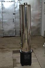 Дровяная колонка водогрейная 80 литров из нержавейки со смесителем и стальной топкой, фото 3