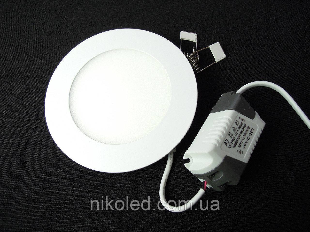 Светильник точечный Slim LED 6W круг  холодный белый