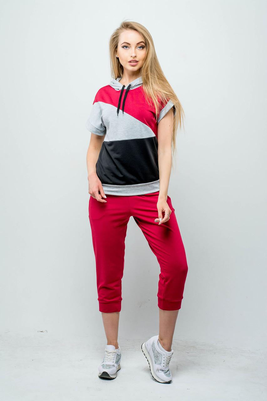 Женский летний спортивный костюм Илайя / размер 44,46 / цвет бордовый