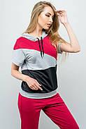 Женский летний спортивный костюм Илайя / размер 44,46 / цвет бордовый, фото 2