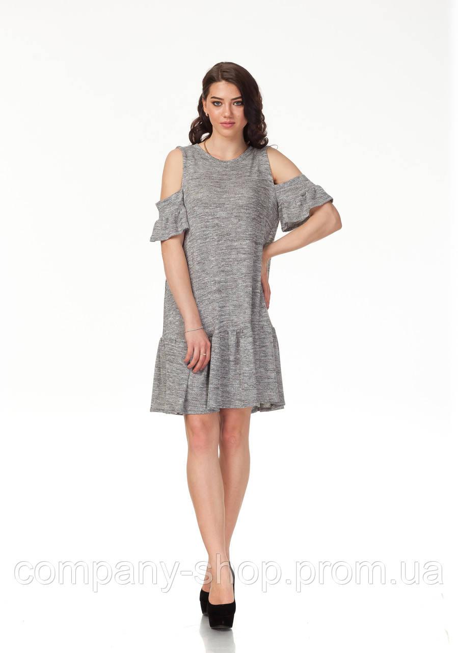Платье трикотажное длинное. Модель П118_серый трикотаж.