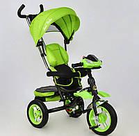 Велосипед 3-х колёсный Best Trike САЛАТОВЫЙ надувные колёса,поворотное сидение,фара,ключ зажигания, 6699