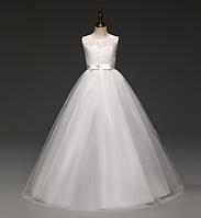Платье белое бальное выпускное длинное в пол нарядное для девочки в садик или школу