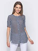 831e290cf2a Модная летняя шифоновая женская блузка с разрезами по бокам Modniy Oazis  темно-синий 90304