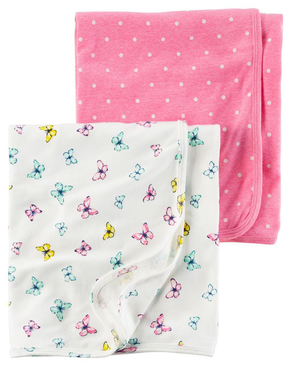 Комплект пеленальных одеял пеленок для девочки Carters бабочки