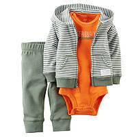 Трикотажный комплект тройка для мальчика Carters серый с оранжевым