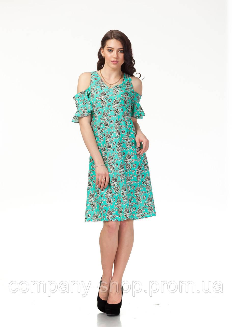 Платье трикотажное длинное. Модель П119_бирюзовые цветочки.