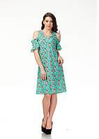 Платье трикотажное длинное. Модель П119_бирюзовые цветочки., фото 1