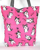 """Женская эко-сумка """"Котики"""" серая с принтом котиков"""