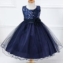 Платье тёмно-синее бальное выпускное нарядное для девочки за колено.