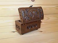Деревянная резная шкатулка (сундучок) для украшений 7.5х14 см ручной работы