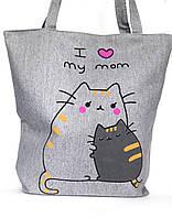 """Женская эко-сумка """"Милые Котики"""" серая с принтом котиков"""