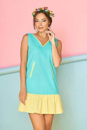Летнее платье мини прямое с рюшами прямое лен ментоловое, фото 2