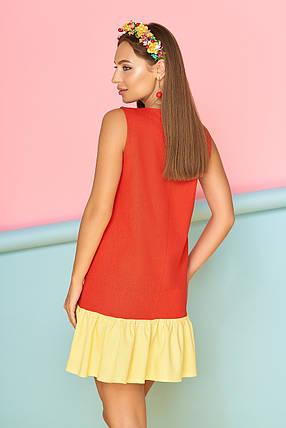 Красивое платье короткое без рукав прямого кроя с карманами и рюшами красное с желтым, фото 2