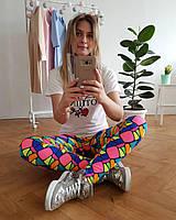 Женские цветные лосины для спорта, фитнеса, пилатеса, стретчинга, йоги