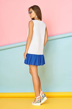 Красивое платье выше колен льняное без рукав белое с синим, фото 2