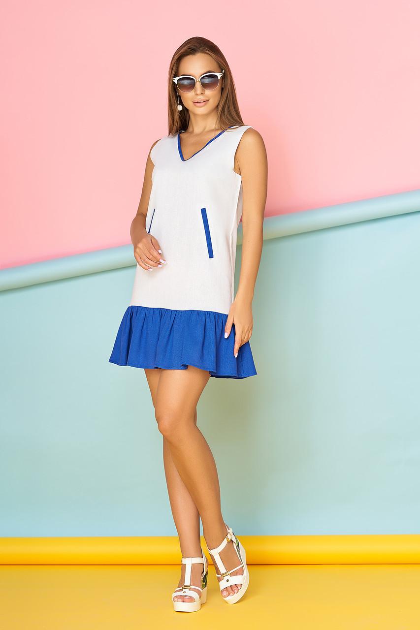 Красивое платье выше колен льняное без рукав белое с синим
