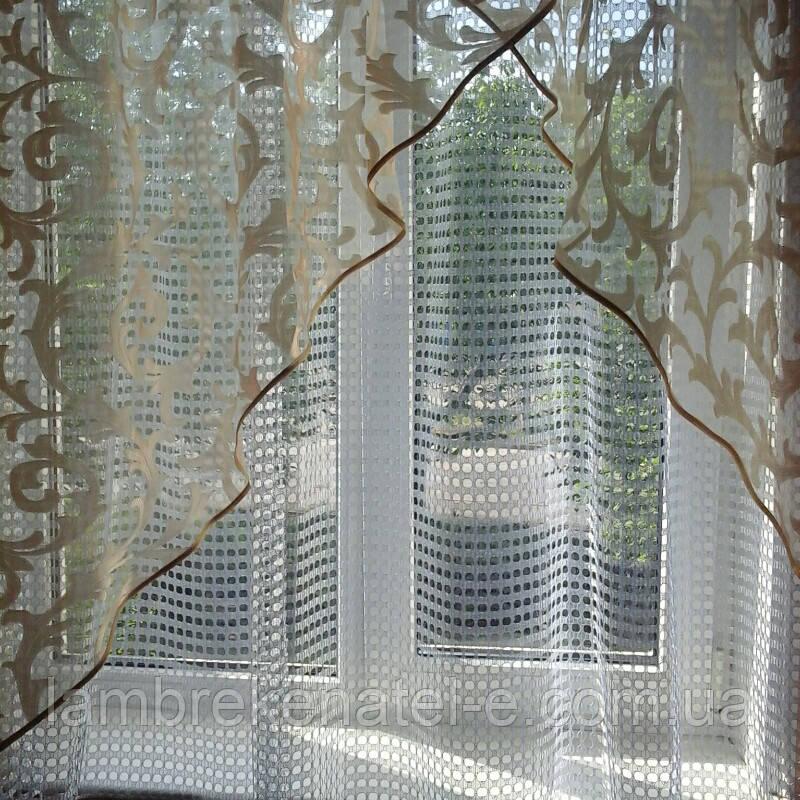 Готовая штора с тюлью для кухни