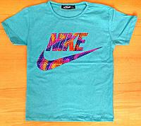 Детская голубая футболка Nike на мальчика (реплика) 4-5 лет, 5-6 лет