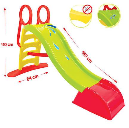Горка детская пластиковая Mochtoys 180 см, зелёная, фото 2