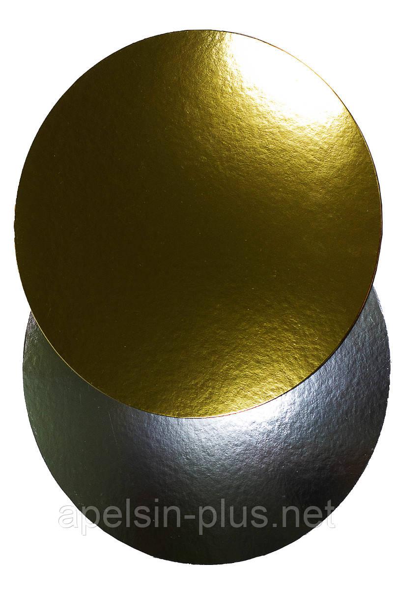 Подложка кондитерская 16 см золото-серебро двухслойная (упаковка 5 штук)