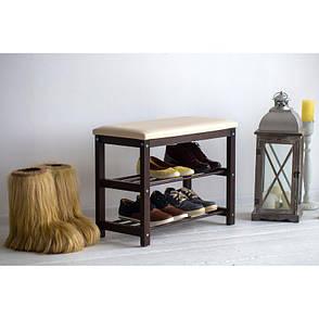 Банкетка с полками для обуви Новита (дерево/металл), фото 2
