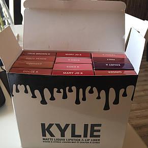 Помада Kylie 8611 12 цветов, только цвета POSIE K, DIRTY PEACH, TRUE BROWN K, фото 2