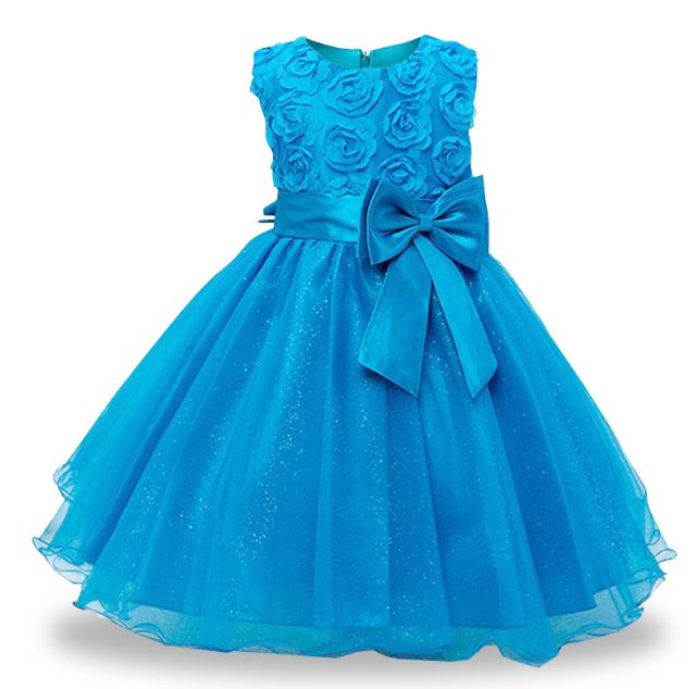 Платье голубое бальное выпускное нарядное для девочки за колено.