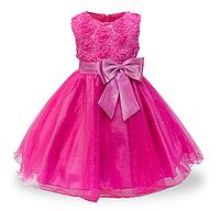 Платье малиновое бальное выпускное нарядное для девочки за колено., фото 1