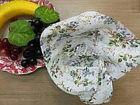 Отрез ситца для рукоделия Серые цветы на белом фоне 20*25 см