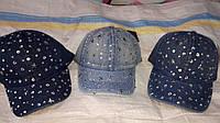 Кепка джинсовая для девочки 54р со звездами из камней оптом