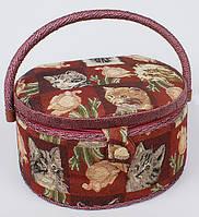 "Шкатулка для рукоделия ""Мастерица Kitten and Roses Oval"", 26x23.5x19.5см"