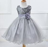 Платье серое бальное выпускное нарядное для девочки за колено., фото 1