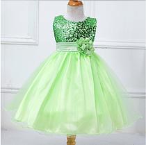 Платье салатовое бальное выпускное нарядное для девочки за колено.