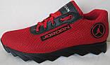 Jordan! літні червоні з чорним чоловічі або для підлітка кросівки в стилі Джордан сітка шкіра, фото 2