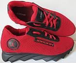 Jordan! літні червоні з чорним чоловічі або для підлітка кросівки в стилі Джордан сітка шкіра, фото 5