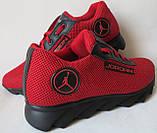 Jordan! літні червоні з чорним чоловічі або для підлітка кросівки в стилі Джордан сітка шкіра, фото 6