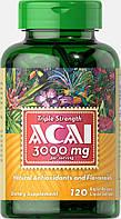 Асаи тройная сила, Triple Strength Acai 3000 mg, Puritan's Pride, 120 капсул