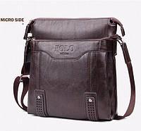 Кожаная мужская сумка-барсетка Polo Videng Есть 3 цвета! Темно-коричневый