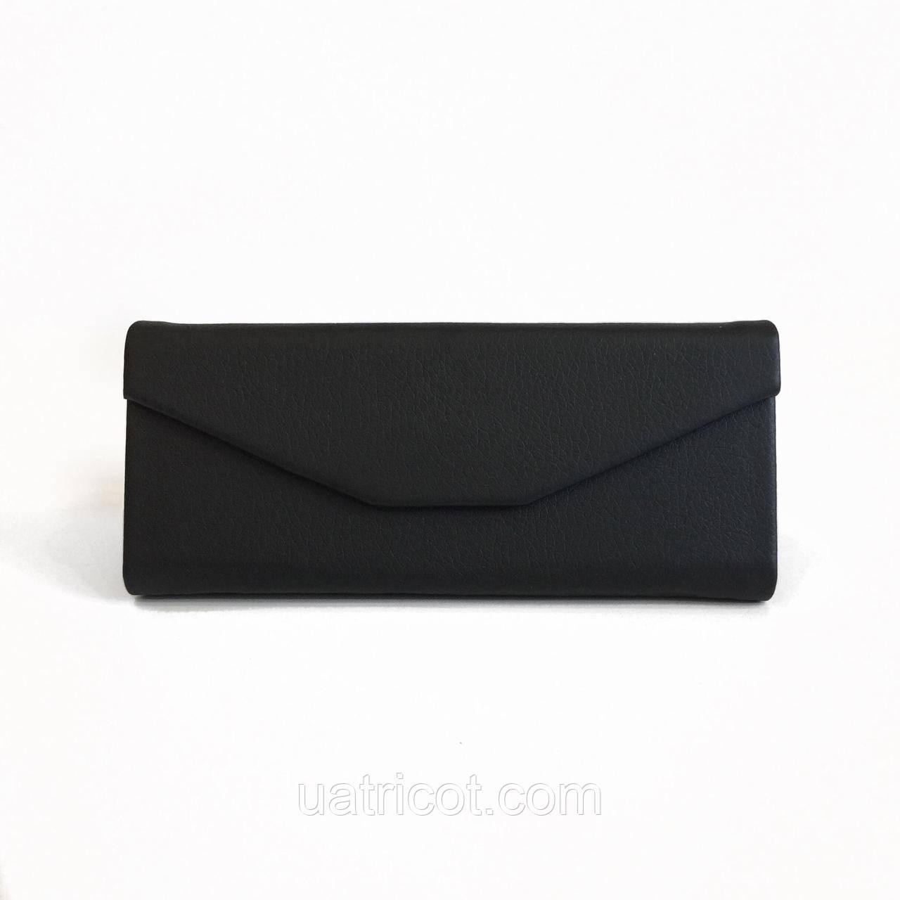 Чёрный кожаный смарт чехол для солнцезащитных очков из гладкой кожи